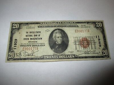 $20 1929 Iron Mountain Michigan MI National Currency Bank Note Bill! #11929 VF!
