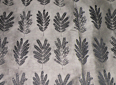 Drapery/Upholstery Weight Woven Black & Silver Grey Fern Fabric