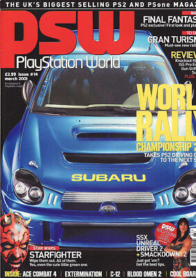PSW PLAYSTATION WORLD MAGAZINE issue 14 - MARCH 2001 - WORLD RALLY 2001 cover