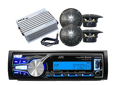 JVC Marine AUX/USB iPhone Bluetooth Radio Receiver,4 Speakers, 400W Amp+ Antenna