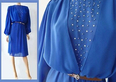 True Vintage 80s Royal Blue Sheer Chiffon Beaded Poet Sleeve Secretary Dress M