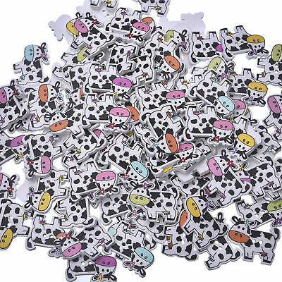 50pcs Lot 2 Holes Lovely Cow Wooden Button Sewing Scrapbooking DIY Crafts