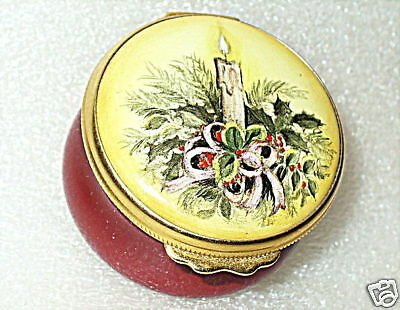 House Of Ashley - English Enamel Box - Candle & Holly - Christmas 1995 - Mib