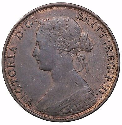 1861 Great Britain Halfpenny Low 1 Over High KM#748.2 Queen Victoria Coin