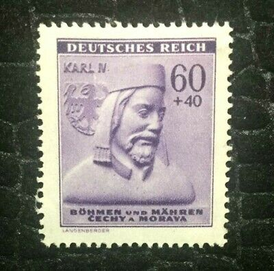 Rare Old Antique Authentic WWII German Bohmen KARL Unused Stamp - 60 Rp