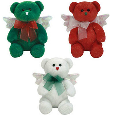 TY Beanie Babies - HARK the Angel Bears (Set of 3 - Green, White & Red) (6.5 in)