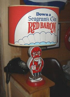 Rare Vintage Seagram's Gin Red Baron Table Light / Bar Light Excellent Shape