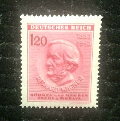 Rare Old Antique Authentic WWII Richard Wagner Unused German Stamp - 120Rp