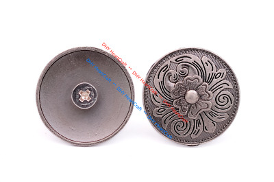 10X Western Antiqued Silver Flower Engraved Leather Belt Hat Band Saddle Conchos