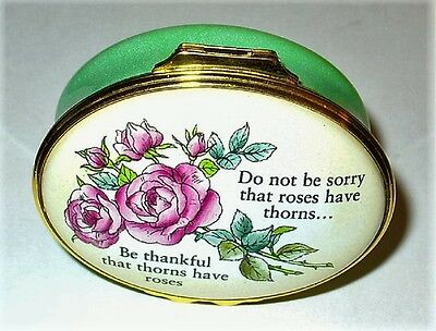 "Halcyon Days Enamel Box- ""be Thankful That Thorns Have Roses"" - Pink Roses - Mib"