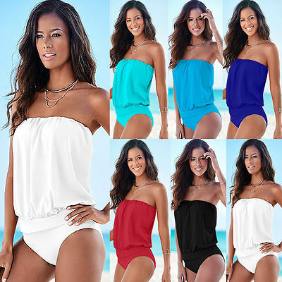 Womens Bandeau Monokini One Piece Bikini Swimwear Swimsuit Beachwear Oversized
