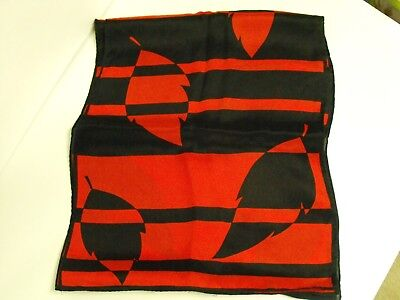 "Black red long scarf Geometric leaf designs 10 1/2"" x 56"" silk / polyester ?"
