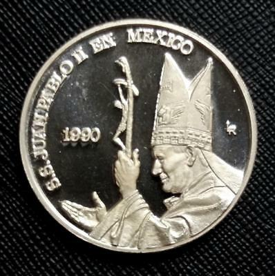 1990 Pope John Paul Ii Visits Mexico Guadalupe Virgin - Rare Proof Silver Medal