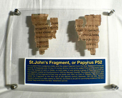 St John Papyrus  the Oldest New Testament Fragment, Replica  With Frame