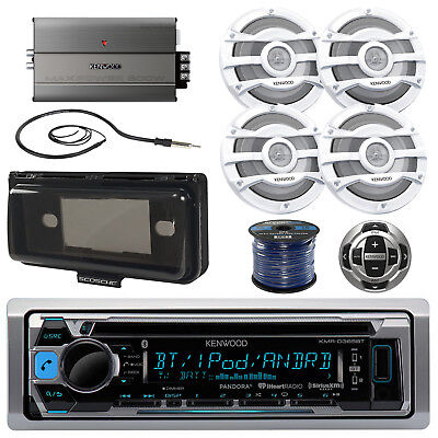 "Kenwood Boat Bluetooth CD Radio/Remote,8"" Speakers/Wire, 600W Amp, Cover,Antenna"