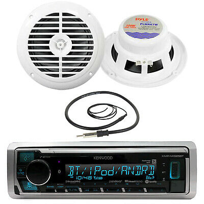 "New KMRM325BT Boat MP3 USB iPod Pandora Receiver 2x 6.5"" 120W Speakers /Antenna"