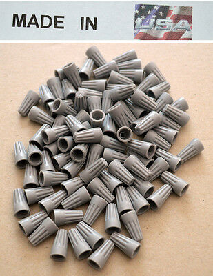 WIRE CONNECTORS GREY STRAIGHT BARREL STYLE SCREW-ON NUTS UL 20,000//CASE