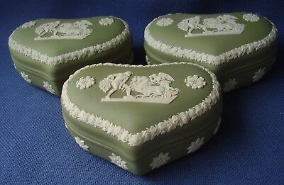 Wedgwood - 3 Green Jasper Ware Large Trinket Boxes- Classical Figures -Excellent