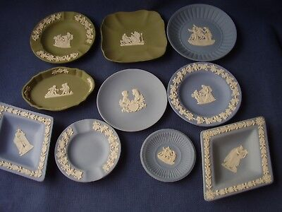 Wedgwood - 10 Jasper Ware Small Dishes & Plates -3 Green -7 Blue- Excellent Cond