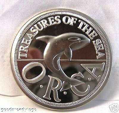 SEALAND ORCA KILLER WHALE 1994 1/2 $ CUNI COIN BU Uncirculated