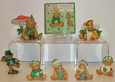 Cherished Teddies Lot of 7 Irish St. Patrick Pat, Ryan, Erin, Sean + Jewelry