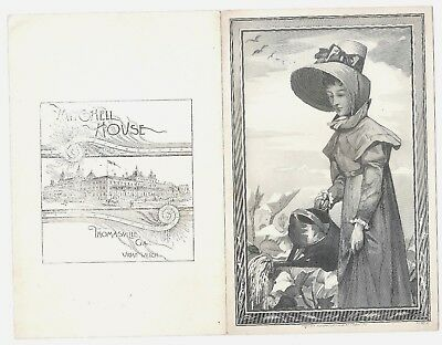 1886 Spring House Hotel Menu Richfield Springs NY with J A Lowell Engraving