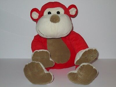 "Babies R Us Red Monkey Plush Stuffed Animal 21"" Toy Doll Brown Ribbed Corduroy"