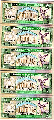 LOT Somaliland, 5 x 5 shillings, 1994, P-1, UNC > First banknote