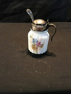 Pairpoint or Mt. Washington Ribbed Mustard Pot with Spoon