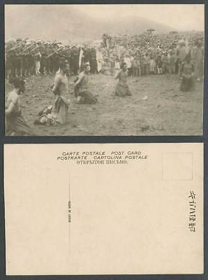 China Old Postcard Qing Chinese Execution Prisoners Criminals Police Soldiers