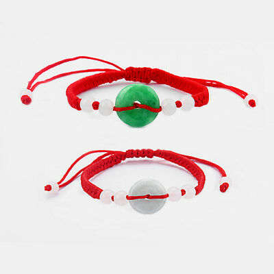 Feng Shui Chinese Oriental Green Jade Lucky Money Coin Beads Red String Bracelet