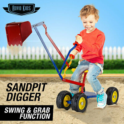 NEW ROVO KIDS Ride-On Sandpit Digger Excavator Metal Outdoor Children Toy Wheels