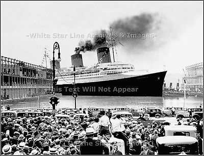 Photo: Grand View: SS Normandie: Enters Cunard Pier After Riband Run, NY, 1935