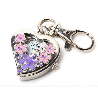 Heart Shape Quartz Watch Flowers Pocket Watches Stainless Steel Key Ring Chain U