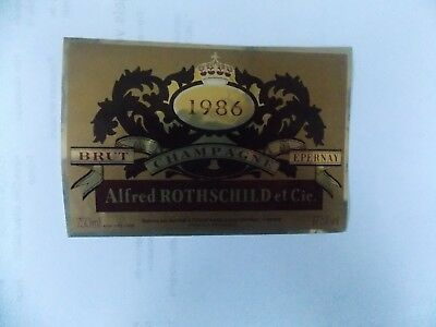 Ancienne étiquette champagne Alfred Rothschild 1986