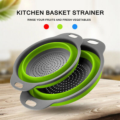 Silicone Kitchen Drain Basket Colander Vegetable Fruit Strainer Collapsible
