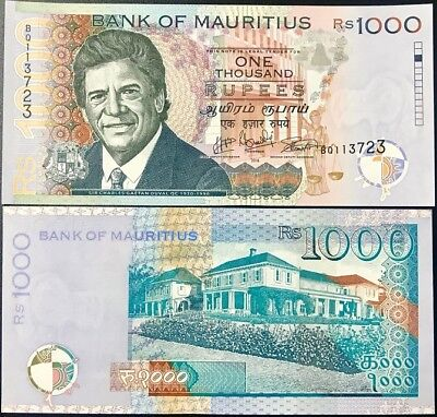 Mauritius 1,000 Rupees 2016/ 2017 P 63 New Date & Sign Unc