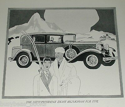 1929 Studebaker advertisement, STUDEBAKER President Eight Brougham, Art Deco
