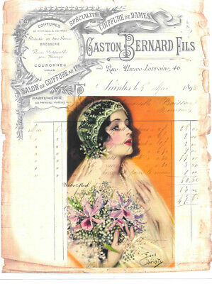 Bride 1920 French Ledger Collage*earl Christy*quilt Art Fabric Block