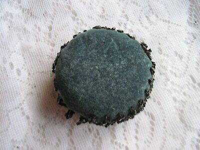 Outstanding Ladies Antique Blue Velvet Pin Cushion w/Beadwork