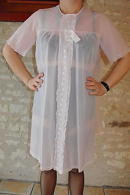 Peignoir Rose Voile Negligee T 40 42 Sexy Sissy Sheer Nightwear Nightgown !943
