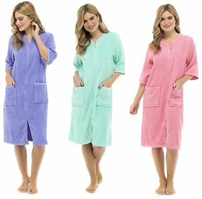 Ladies Terry Towelling Zip Or Button Front Dressing Gown Bath Womens