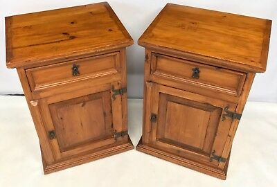 PAIR Antique Style Rustic Pine Bedside Cabinets / Pot Cupboards / Lamp Stands