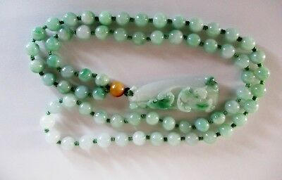 Vintage Jade necklace with hand carved pendant of Purity and Joy
