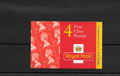GB 1996 First Class Barcode Booklet - HB 11 - Queen Elizabeth Label - Cyl Nos #1
