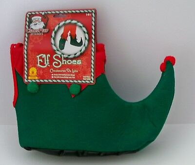 Adult Elf Jester Grinch Red & Green Felt Christmas Shoes Costume Ru26500