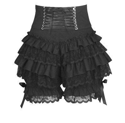 Black Gothic Steampunk Lolita Ruffle Lace Pumpkin Bloomers Cotton Shorts
