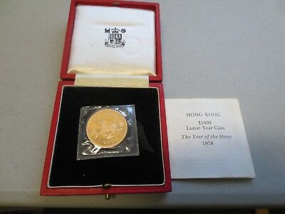 1978 Hong Kong $1000 Gold Lunar Year of the Horse PROOF Coin w/ Box & COA