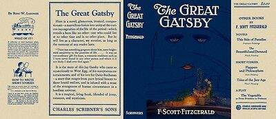 F. SCOTT - FITZGERALD - The Great Gatsby - 1925 - Facsimile D/J Only - No Book