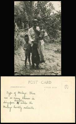 Singapore Old Real Photo Postcard Native Malay Women Carrying a Baby, Little Boy
